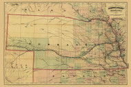 Nebraska 1874 Asher & Adams - Old State Map Reprint