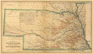 Nebraska 1876 Colton - Old State Map Reprint