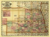 Nebraska 1879 Cram - Railroads - Old State Map Reprint