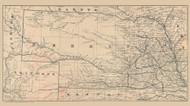 Nebraska 1880 Gast - Old State Map Reprint