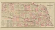 Nebraska 1885 Everts & Kirk - Old State Map Reprint