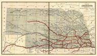 Nebraska 1886 Hirschfield  - Old State Map Reprint