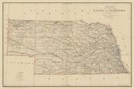 Nebraska 1890 General Land Office - Old State Map Reprint