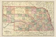 Nebraska 1902 Cram - Old State Map Reprint