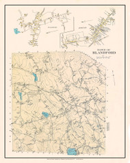 Blandford, Massachusetts 1912 Old Town Map Custom Reprint - Hampden Co.