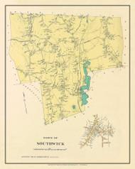Southwick, Massachusetts 1912 Old Town Map Custom Reprint - Hampden Co.