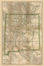 New Mexico 1879 Rand McNally - Old State Map Reprint