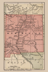 New Mexico 1880 Bolitho - Old State Map Reprint
