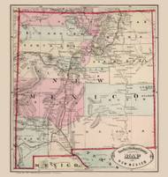 New Mexico 1882 Cram - Old State Map Reprint