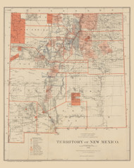 New Mexico 1882 General Land Office - Old State Map Reprint
