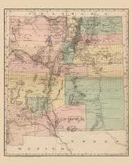 New Mexico 1886 Page - Old State Map Reprint