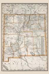 New Mexico 1888 Rand McNally - Old State Map Reprint