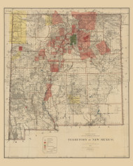 New Mexico 1896 General Land Office - Old State Map Reprint