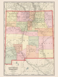 New Mexico 1901 Cram - Old State Map Reprint