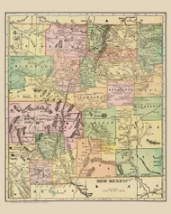 New Mexico 1909 Davis - Old State Map Reprint