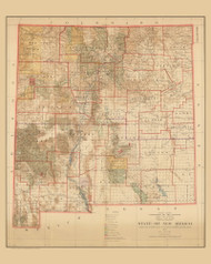 New Mexico 1927 General Land Office - Old State Map Reprint