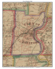 City of Hartford, Connecticut 1884 Hartford and Vicinty - Old Town Map Custom Print