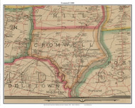 Cromwell, Connecticut 1884 Hartford and Vicinty - Old Town Map Custom Print