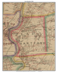 East Hartford, Connecticut 1884 Hartford and Vicinty - Old Town Map Custom Print