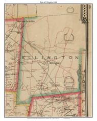 Part of Ellington, Connecticut 1884 Hartford and Vicinty - Old Town Map Custom Print