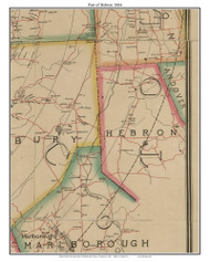 Part of Hebron, Connecticut 1884 Hartford and Vicinty - Old Town Map Custom Print