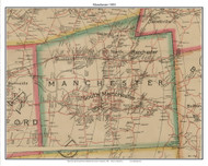 Manchester, Connecticut 1884 Hartford and Vicinty - Old Town Map Custom Print