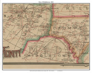 Part of Middletown, Connecticut 1884 Hartford and Vicinty - Old Town Map Custom Print