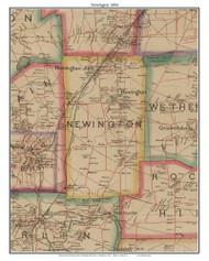 Newington, Connecticut 1884 Hartford and Vicinty - Old Town Map Custom Print