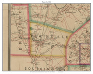 Plainville, Connecticut 1884 Hartford and Vicinty - Old Town Map Custom Print