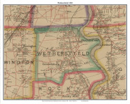 Wethersfield, Connecticut 1884 Hartford and Vicinty - Old Town Map Custom Print