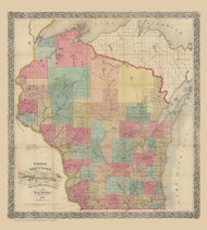 Wisconsin 1856 Chapman - Old State Map Reprint