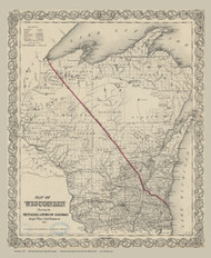 Wisconsin 1857 Vleit, Railroad - Old State Map Reprint