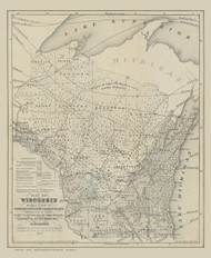 Wisconsin 1862 Hoyt - Old State Map Reprint