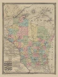 Wisconsin 1866 Blanchard - Old State Map Reprint