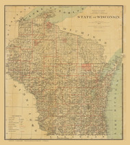 Wisconsin 1878 General Land Office - Old State Map Reprint