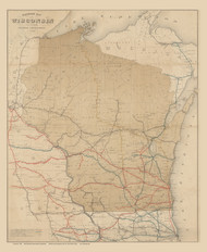 Wisconsin 1880 Railroad Commissioner - Old State Map Reprint