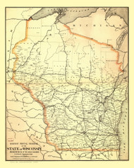 Wisconsin 1882 Nicholson - Old State Map Reprint