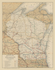 Wisconsin 1889 Conover - Old State Map Reprint
