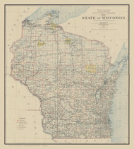 Wisconsin 1896 General Land Office - Old State Map Reprint