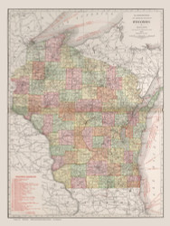 Wisconsin 1912 Rand McNally - Old State Map Reprint