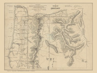 Oregon 1861 Surveyor General  - Old State Map Reprint