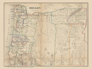 Oregon 1866 Surveyor General - Gold Regions - Old State Map Reprint
