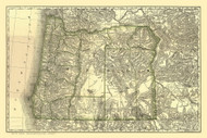 Oregon 1876 Rand McNally - Old State Map Reprint