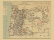 Oregon 1879  - Old State Map Reprint
