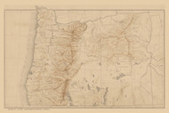 Oregon ca.1884  - Old State Map Reprint
