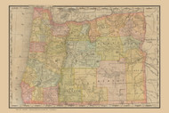 Oregon 1889 Rand McNally - Old State Map Reprint