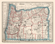 Oregon 1893 Cram - Old State Map Reprint