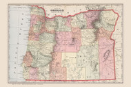Oregon 1901 Cram - Old State Map Reprint