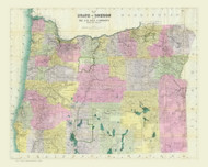 Oregon 1911 Gill - Old State Map Reprint
