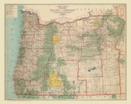 Oregon 1922  - Old State Map Reprint